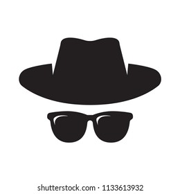 Anonymous. Spy, Gangster, Detective, Agent. Hat and glasses Vector illustration Isolated on White Background