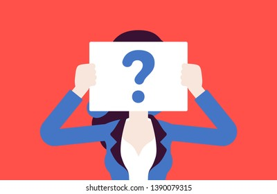 Anonymous woman with question mark. Female person not identified by name, unknown faceless user, incognito with concealed profile, business secrecy, obscurity, blind date partner. Vector illustration