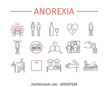 Anorexia. Symptoms, Treatment. Line icons set. Vector signs for web graphics.