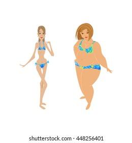 """""""slim Vs Fat"""": Imágenes, fotos de stock y vectores ...  Obese Vs Anorexic"""