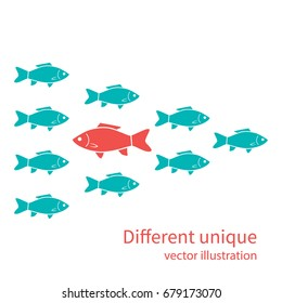 Another unique. Red fish in of white. Creative standing out from crowd. Uniqueness individuality courage confidence. Difference concept. Vector illustration flat design. Isolated on background.
