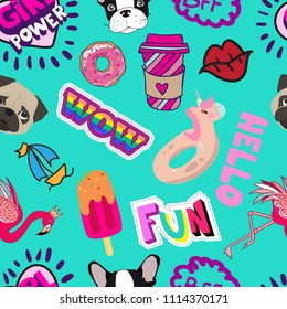 Anstract seamless pattern with sketch dog, flamingo, fun, ice cream, bff, ship, unicorn, lips, donut, wow, pug, hello, cup. Background for textile, fabric, wrapping paper, web, clothes, wallpaper.