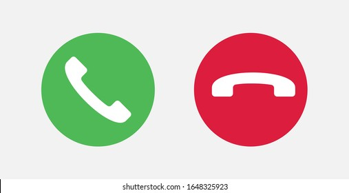 Answer and decline phone call buttons. Vector illustration icon.  Phone call. Telephone sign. Accept call and decline phone icons.