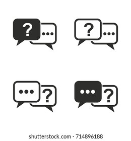 Answer vector icons set. Black Illustration isolated for graphic and web design.