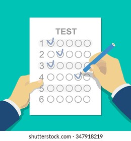 Answers to exam test answer sheet with pencil and student hand. Flat style vector illustration isolated on white background.