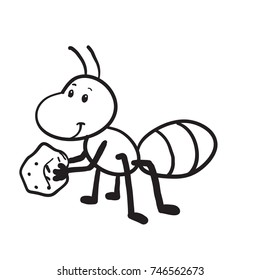Ant cartoon vector hand drawn