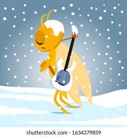 ant and cidada fable vectoral illustration. unhappy cidada. vectoral art for children books, covers, magazines, web pages and blogs.