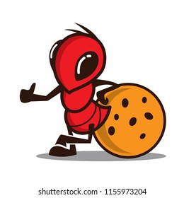 Ant and Cookies logo icon illustration mascot character.
