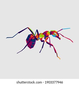 an ant crawling on the wall. wpap art style. gooding for wall decoration, t-shirts etc. Eps file
