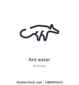 ant eater outline icon. isolated line vector illustration from animals collection. editable thin stroke ant eater icon on white background
