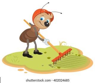 Ant Gardener with rake. Cartoon illustration in vector format