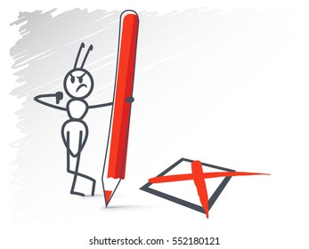Ant holding a red pencil