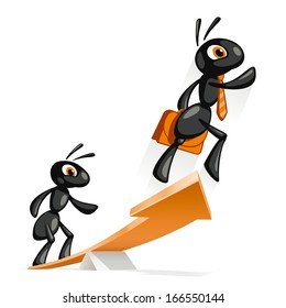 Ant Jump Up. Ant helps other ants to reach new heights.