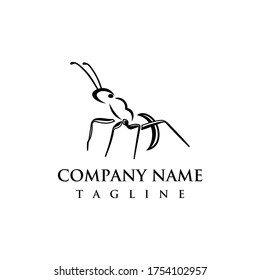 Ant logo design template. Awesome ant logo. Ant lineart logotype.