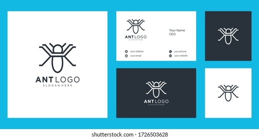 Ant Logo design vector and business card icon illustration