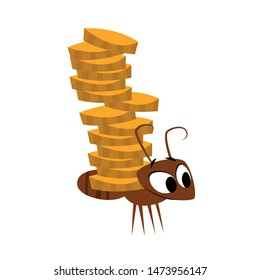 Ant saving money collecting golden coins. Saving money. Investment, earnings, income, investment, profits. Finance concept. Vector Illustration. Flat design.