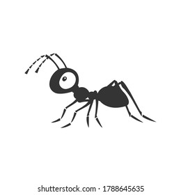 Ant silhouette vector on a white background