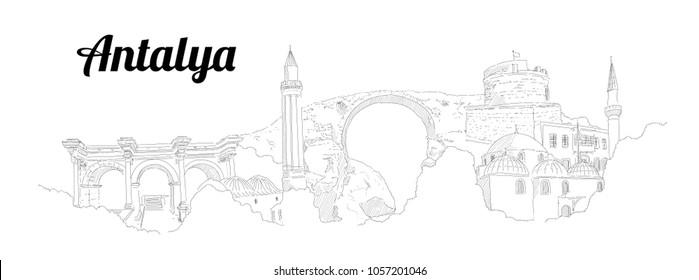 Antalya city hand drawing panoramic sketching style illustration