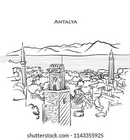 Antalya Travel Sketch. Hand-drawn vector illustration of Antalya old town.