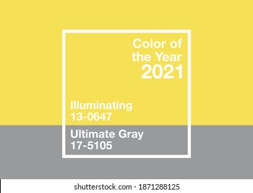 Antalya, Turkey - December 10, 2020: Color of the Year 2021, 17-5104 Ultimate Gray and 13-0647 Illuminating trend colours palette sample swatch book guide,
