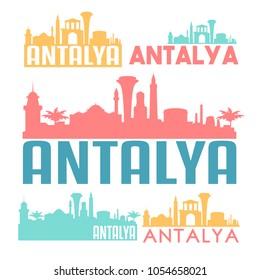 Antalya Turkey Flat Icon Skyline Vector Silhouette Design Set