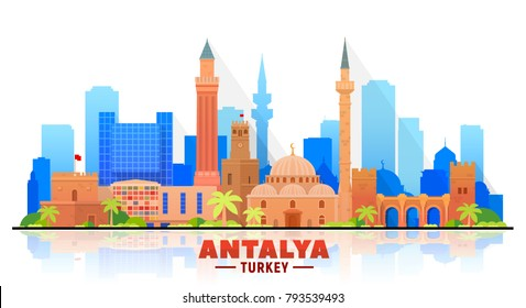 Antalya  ( Turkey ) skyline with panorama in white background. Vector Illustration. Business travel and tourism concept with modern buildings. Image for presentation, banner, placard and web site.
