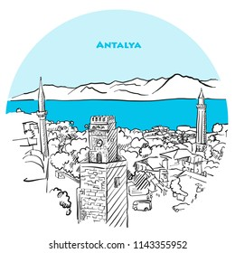 Antalya two toned drawing. Hand-drawn vector illustration of Antalya old town with blue sea in background.