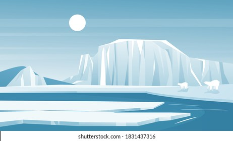 Antarctic landscape vector illustration. Cartoon frost nature scenery of North with iceberg snow mountain, arctic ice and snow hills.
