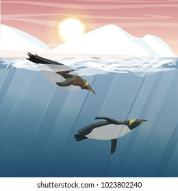 Antarctic or northern underwater landscape. Iceberg, glacier, snow-covered mountains and two penguins floating in the sea water. Vector illustration, a scene from marine life.