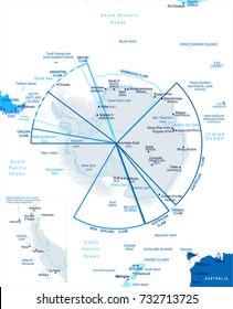 Antarctic region Map - Detailed Vector Illustration