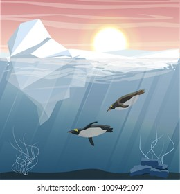 Antarctic underwater landscape. Iceberg, glacier and two penguins floating in the sea water. Vector illustration, a scene from marine life.