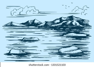 Antarctica landscape. Icebreaker in the ice. Iceberg sketch. Vector illustration. The northern mountains on the horizon.