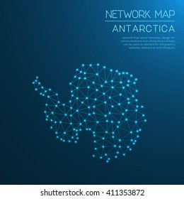 Antarctica network map. Abstract polygonal Antarctica network map design with glowing dots and lines. Map of Antarctica networks. Vector illustration.