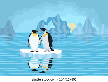 antarctica penguins on an ice floe in the sea bright drawing