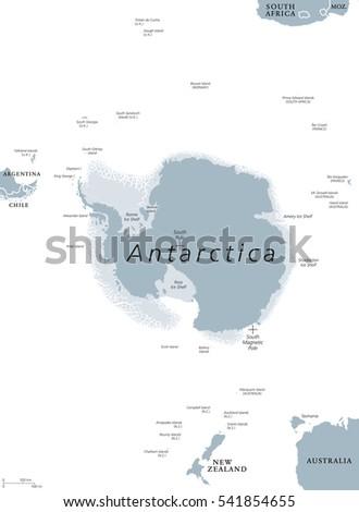 Antarctica Political Map Antarctic Polar Region Stock Vector