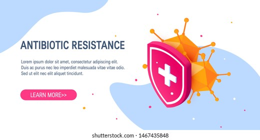 Antbiotic drug resistance concept in isometric projection. Bacteria hiding behind a medical shield. Vector template for web banners, ads etc.