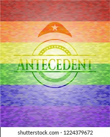 Antecedent emblem on mosaic background with the colors of the LGBT flag