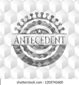 Antecedent grey badge with geometric cube white background