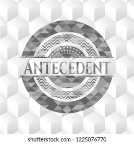 Antecedent grey emblem with cube white background