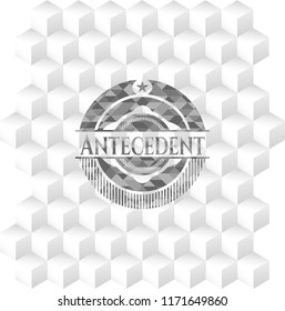 Antecedent grey emblem with geometric cube white background