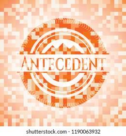 Antecedent orange tile background illustration. Square geometric mosaic seamless pattern with emblem inside.