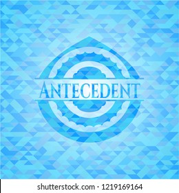 Antecedent realistic light blue mosaic emblem