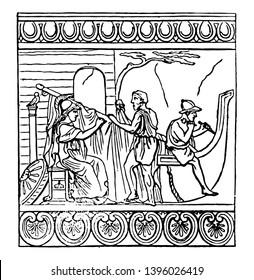 Antefixa representing Minerva superintending construction of the Ship Argo Antefixa are terra to cottas various ornamental designs vintage line drawing or engraving illustration.