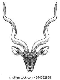 Antelope head tattoo. psychedelic