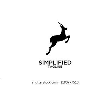 Antelope jump logo icon designs vector