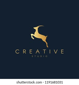 Antelope logo. Antelope silhouette. Trendy animal logo design.