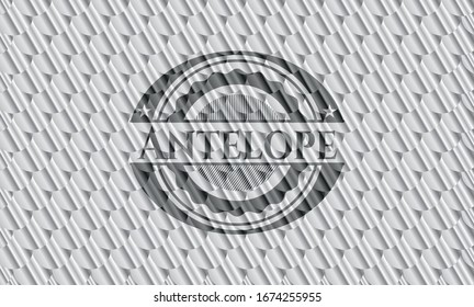 Antelope silver shiny badge. Scales pattern. Vector Illustration. Detailed.