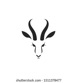 Antelope springbok. Logo. Isolated antelope head. Wild animal