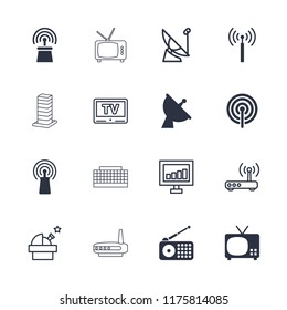 Antenna icon. collection of 16 antenna filled and outline icons such as signal tower, tv, satellite, signal, observatory, router. editable antenna icons for web and mobile.