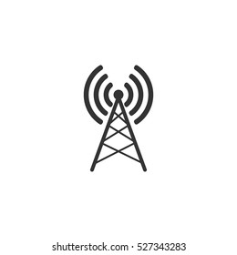 Antenna icon flat. Illustration isolated vector sign symbol